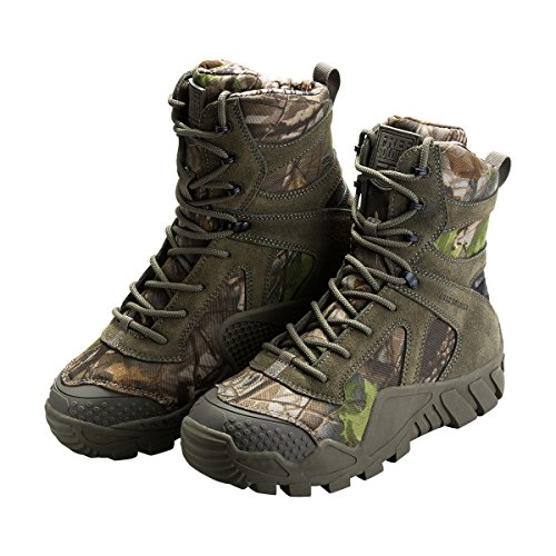 FREE SOLDIER Men's Boots All Terrain Hiking Shoes Suede Leather Winter Tactical Boots (Camo, 9)
