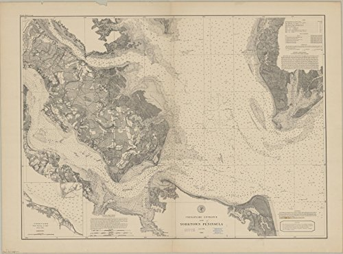 Historic Map Reproductions - Historic Map | Chesapeake Bay 1881 | Chesapeake entrance and Yorktown Peninsula | Antique Vintage Reproduction 44in x 33in