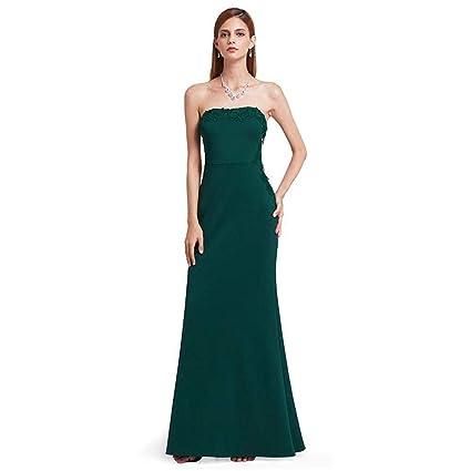 Defect Vestido de Noche Verde Oscuro Elegante Banquete de Cintura Alta Bandeau Sirena Vestido Formal Vestido
