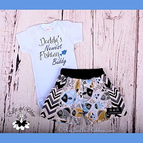 Ribbon Boyshort - Size 0-3 Months/Newborn Boy Outfits/Newborn Boy Clothes/Newborn Fishing Clothes/Trendy Baby Boy Clothes/Baby Boy Rompers/Baby Boy Shorts/Ruffles And Ribbon Boutique/Handmade
