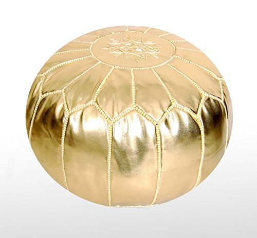 Moroccan Pouf Ottoman Footstool (Faux Leather) Genuine Hand-Stitched Seating | Living Room, Bedroom, Sitting Area | Gold | Exclusive Designs - Shower Taboret