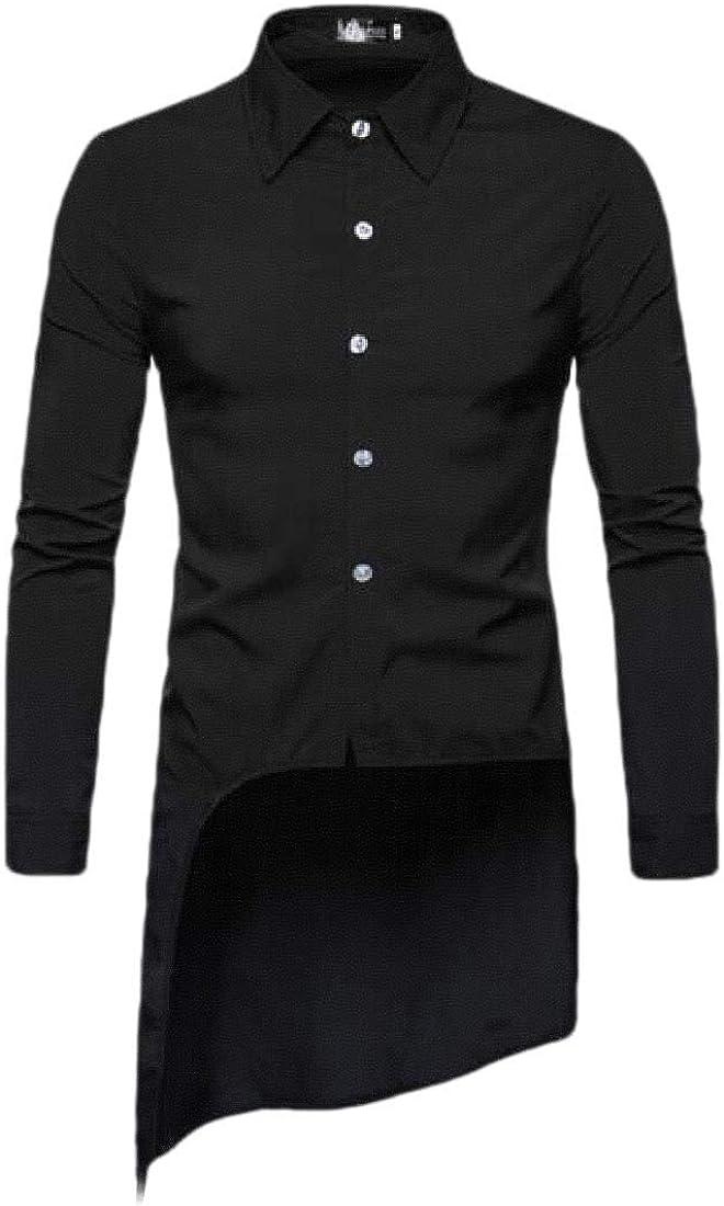 shinianlaile Mens Swallow Tailed Shirt Long Sleeve Button Down Shirt Tops