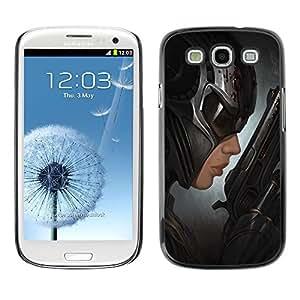 """For SAMSUNG Galaxy S3 III / i9300 / i747 Case , Bat Mujer Arte héroe Pistola villano Negro"""" - Diseño Patrón Teléfono Caso Cubierta Case Bumper Duro Protección Case Cover Funda"""