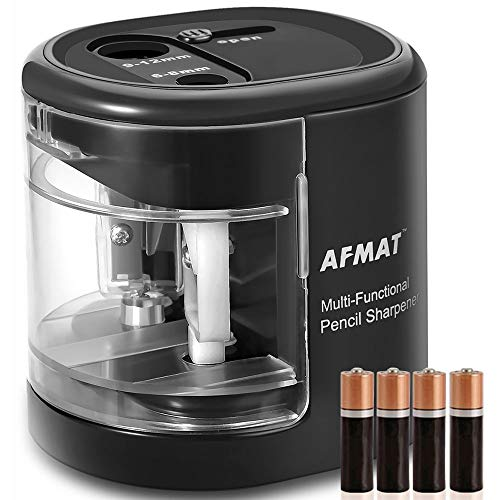 Pencil Sharpener Battery Operated, Colored Pencils Sharpener for Kids, USB Powered with Double Holes and Replaceable Blades, for 6-12mm No.2 &Drawing Pencils, School, Artists-4 free batteries included by AFMAT