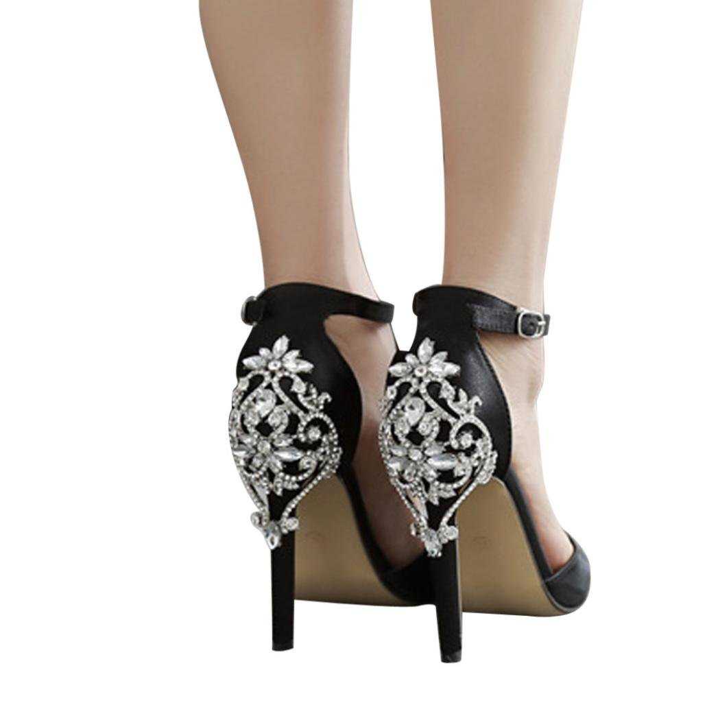 2ce7b48d3 Amazon.com  Women s Ankle Buckle Strappy Sandals Luxury Diamond Chunky  Block High Heel - Formal