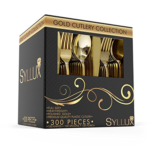 Gold Plastic Silverware Set |300 Pieces Disposable Cutlery