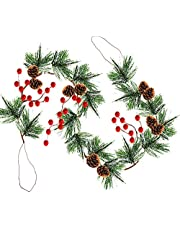 TURNMEON 6 Foot Christmas Garland Decoration with 16 Snowy Bristle Pine,33 Red Berries, Pine Cone Artificial Garland Decoration Indoor Outdoor Home Mantle Fireplace Holiday