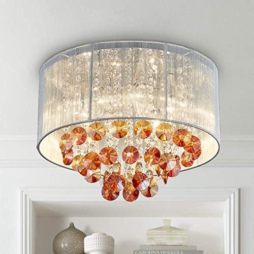 Bestier Moderne Cristal Goutte De Pluie Tambour Lustre Éclairage Encastré LED Plafonnier Luminaire Lampe pour Salle À Manger Salle De Bains Chambre