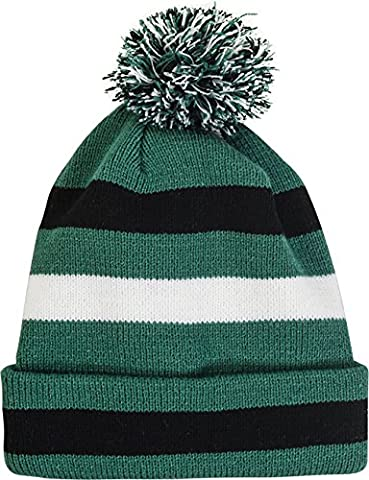 Pompom hat - Variety of styles (One size, Green with black and white) (Green Bay Packers Hat Scarf)