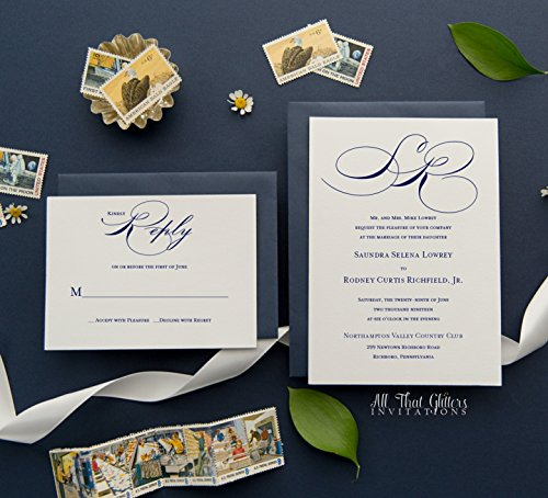 - Cheap Elegant Wedding Invitations with Monogram, Personalized Invitations with Envelopes, RSVP Card Included