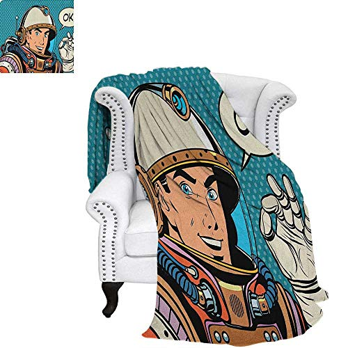 Astronauttravel blanketMiddle Aged Sapce Man Gesturing and Saying OK Speech Bubble Space Themed Catroonthrow Blanket for Couch 90