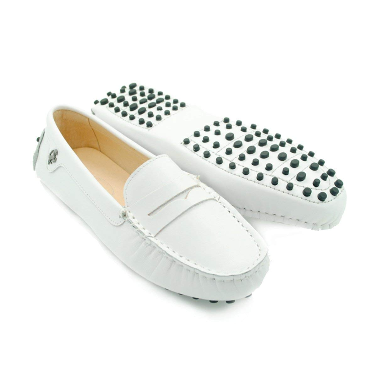 Qiusa Mädchen-Damen-zufälliges weißes Leder das im Freien Freien Freien Stiefel-Schuh-Müßiggänger-Mokassins Großbritannien fährt 7 (Farbe   - Größe   -) 78d0f6