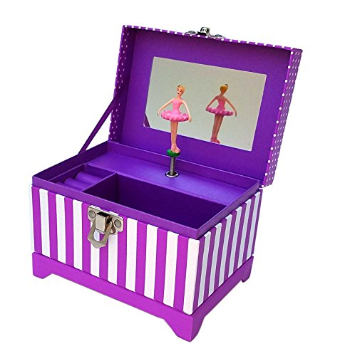 - My Tiny Treasures Box Co. Musical Ballerina Jewelry Box - Purple