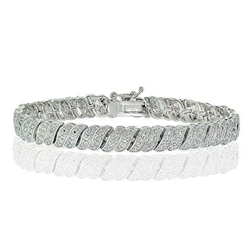 Glitzs Jewels Silver Tone Brass Simulated Diamond Wave Link Tennis Bracelet in Silver Plated Brass