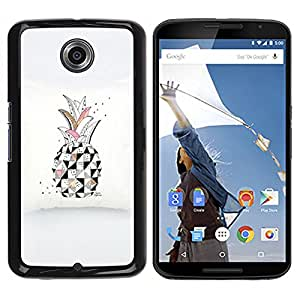 iKiki Tech / Estuche rígido - Art Drawing Black White Pink - Motorola NEXUS 6 / X / Moto X Pro
