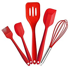 Bestga 5 PCS Silicone Kitchen Cooking Utensils Set Hygienic Durable Non Stick Home Baking Cooking Tools With Heat Resistant Brush, Egg Whisk, Large and Small Spatula, Slotted Turner - Red