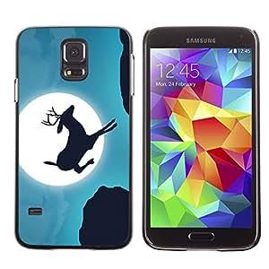 Caucho caso de Shell duro de la cubierta de accesorios de protección BY RAYDREAMMM - Samsung Galaxy S5 SM-G900 - Moonlight Jumping Stag