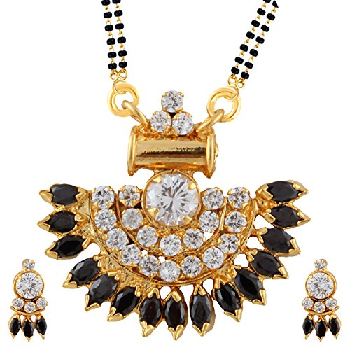 Efulgenz Indian Bollywood Traditional Gold Plated Ruby Emerald/Color CZ Stone Mangalsutra Pendant Necklace Jewelry with Chain for Women by Efulgenz (Image #3)