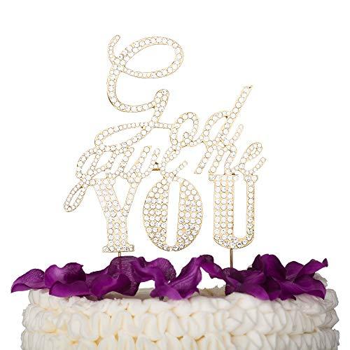 (Ella Celebration God Gave Me You Rhinestone Cake Topper (Gold))