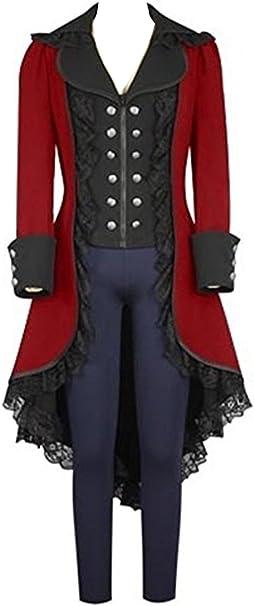 Steampunk mit Tollstore Spitze Damen Barock Gothic Mantel ED29WHI