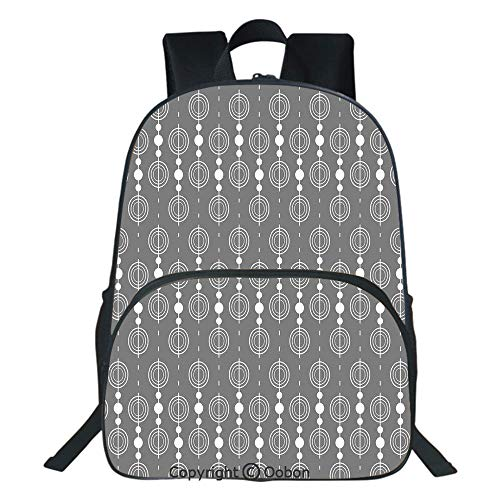 Oobon Kids Toddler School Waterproof 3D Cartoon Backpack, Various Sized Geometric Circles Rounds Chained Spirals Retro Style in Mod Graphic Art Home Decorative, Fits 14 Inch Laptop