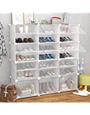 JOISCOPE Portable Shoe Storage Organizer Tower, White, Modular Cabinet Shelving for Space Saving, Shoe Rack Shelves for Shoes, Boots, Slippers
