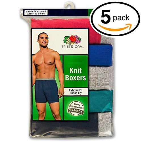 Fruit of the Loom Men's Exposed Waistband Knit Boxer (5 Pack) Fruit of the Loom Men' s Underwear 5P72BG