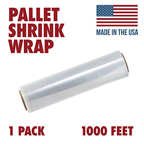 18 X 1000 Tough Pallet Shrink Wrap, 80 Gauge Industrial Strength Plastic Film, Commercial Grade Strength Film, Moving & Stretch Packing Wrap, For Furniture, Boxes, Pallets (1-Pack) from Ox Plastics