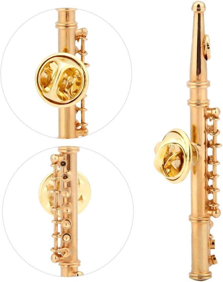 Mini Flauta en Forma de Accesorio de Broche de Instrumento Musical para la colecci/ón de Regalos