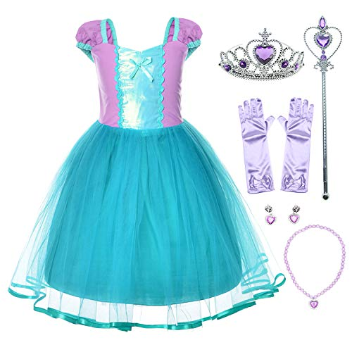 Little Mermaid Princess Ariel Costume for Toddler Girls with Gloves,Crown,Wand,Necklace 18-24 Months]()