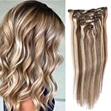 Best Human Hair Extensions - Remy Clip in Hair Extensions Blonde Balayage 70grams Review