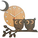 Bronzehouse Natural Wooden Wall Clock Silent & Non-Ticking Quartz Movement Decorative Moon Owl Clock For Sale