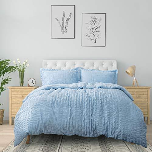 Bedsure Duvet Cover Set Queen Size (90 x 90 inches) - Seersucker Stripe - 3 Pieces (1 Duvet Cover + 2 Pillow Shams), Light Blue - Ultra Soft Microfiber - Duvet Covers with Zipper Closure, Corner Ties (Duvet Blue Cover Queen)