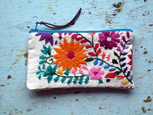 Floral Embroidered Pouch Coin Purse Credit Card Wallet
