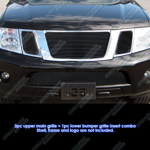 APS Compatible with 2008-2012 Nissan Pathfinder Black Billet Grille Grill Insert Combo S18-H18776N