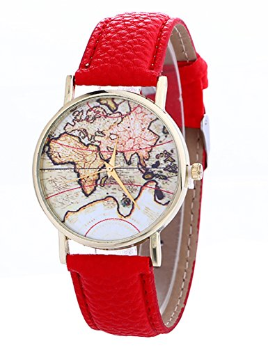 Women Watches Ladies Girls Cute Mini World Map Quartz Leather Band Wrist Watch Bracelet on Sale (Red) (Mini Ladies Watch 23)
