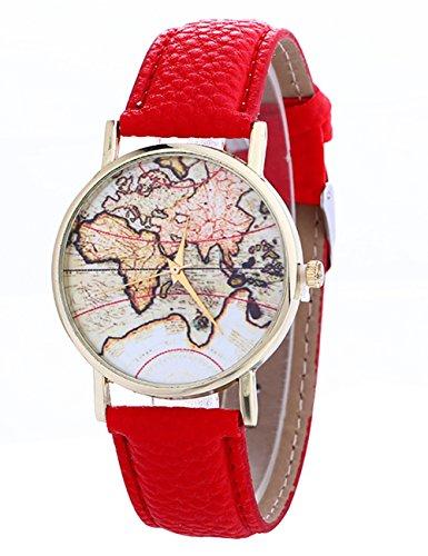 Women Watches Ladies Girls Cute Mini World Map Quartz Leather Band Wrist Watch Bracelet on Sale (Red) (23 Mini Watch Ladies)