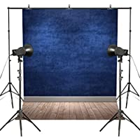 MUEEU 6x9ft Blue Wall Wood Floor Photography Backdrops Potriotic Vinyl Photo Studio Props Background for Photographers