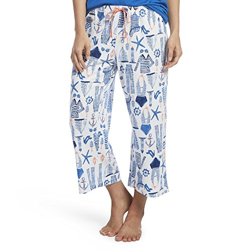 Cotton Sailor Pants - HUE Women's Printed Knit Capri Pajama Sleep Pant, Sailor Jam/White, Extra Large