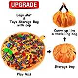 "Lego Storage and Toy Organizer Storage Bag Mat by Drawstring Lego Mat and Play Toy Mat Bag/Storage for Children – Lego Storage Container 60"" for Kid Storing Lego Toy with Cap Like Travel Bag as Gift"