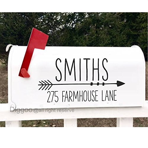 Family Mailbox (Set of 2 Mailbox Decal Personalized Address Sticker Family Name Decal Home Vinyl Lettering (5