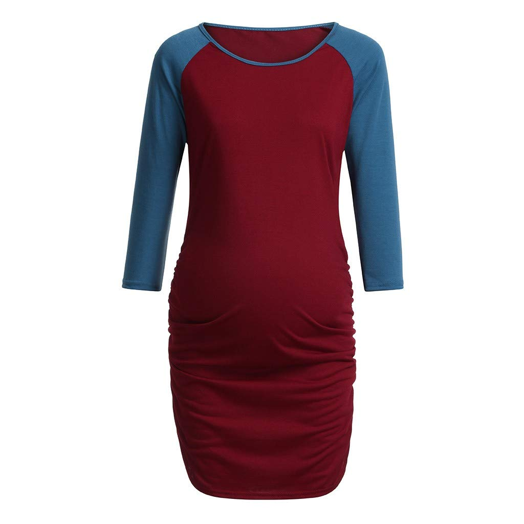 Maternity Top Women Side Ruched Pregnancy T-Shirts Long Raglan Sleeve Basic Clothes for Pregnant (L, Red)