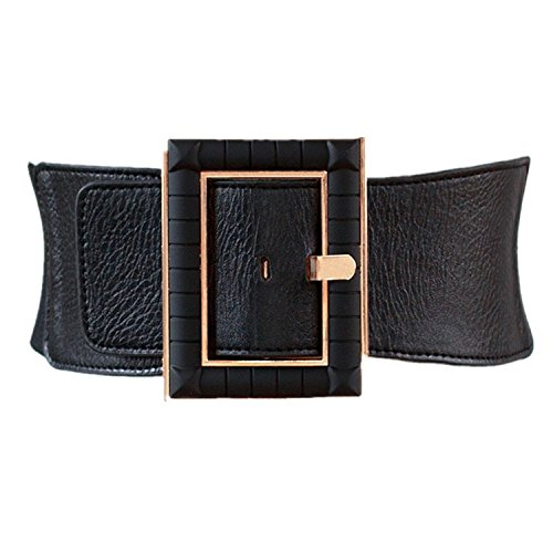 High Waist Elastic Wide Stretch Belt Cinch Dress Belt for Women Band Leather Belt Buckle