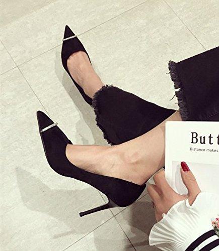 Alla Ajunr Scarpe profonde Moda 9cm Casual alti Joker Suggerimenti 36 Sandali Bocca 34 tacchi Donna Scarpe Da nero poco Vintage vtqtBr