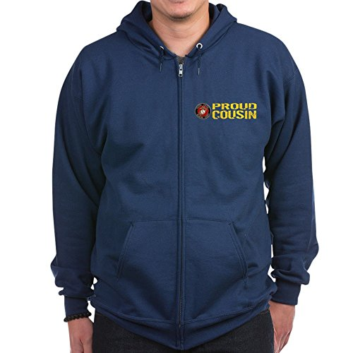 CafePress USMC: Proud Cousin - Zip Hoodie, Classic Hooded Sweatshirt with Metal Zipper -