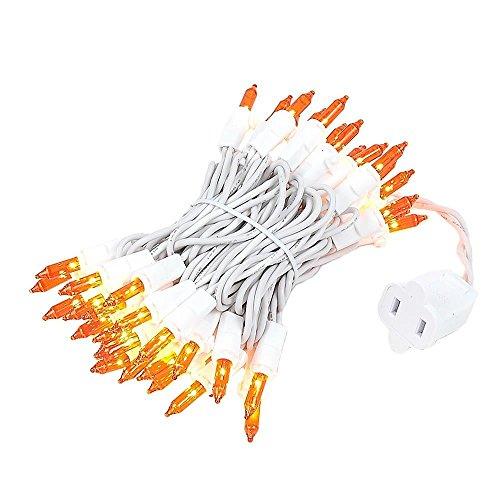 Novelty Lights 50 Light Orange Christmas Mini Light Set, White Wire, 11 Long