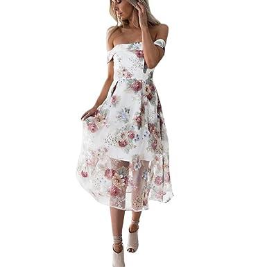 feiXIANG Damen Sommer Kleid Off Schulter Floral Bedruckt Lange Maxi ...
