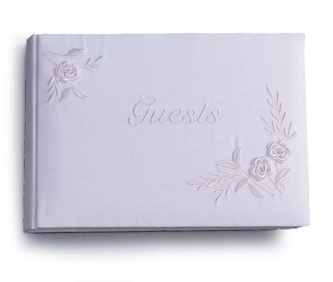 Darice Vl2016 01 Guest Book White With Embroidery Outlet