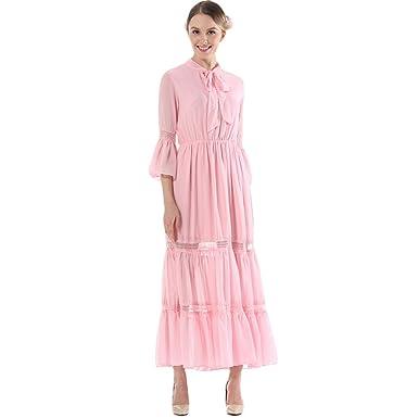 bcbd8a2f5391 Yiiquan Women Vintage Beach Maxi Dresses High Waist Neckline Tie Long Flowy  Boho Dress: Amazon.co.uk: Clothing