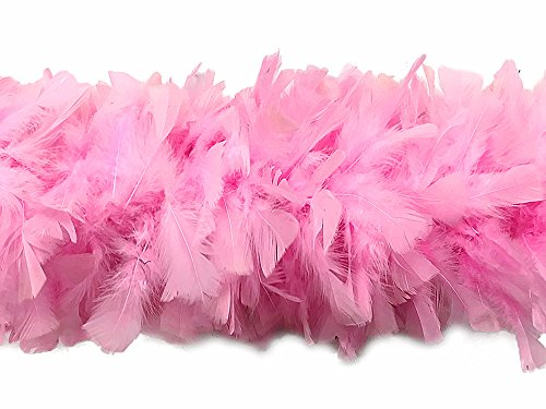 Moonlight Feather, 2 Yards - Light Pink Turkey Flat Feather Boa, 150 Gram (Turkeys In The Moonlight)